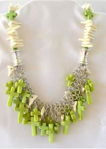 Lime Green Cross Dangle NecklaceWhat Cowgirls Want