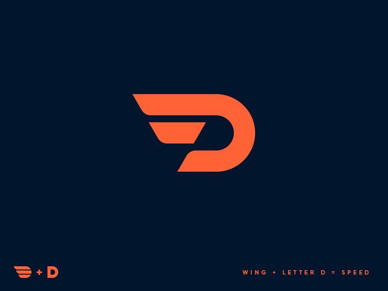D Wing Desain Logo Huruf Gambar Kehidupan