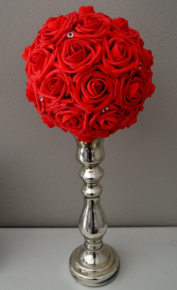 Red bling foam flower ball wedding centerpiece by