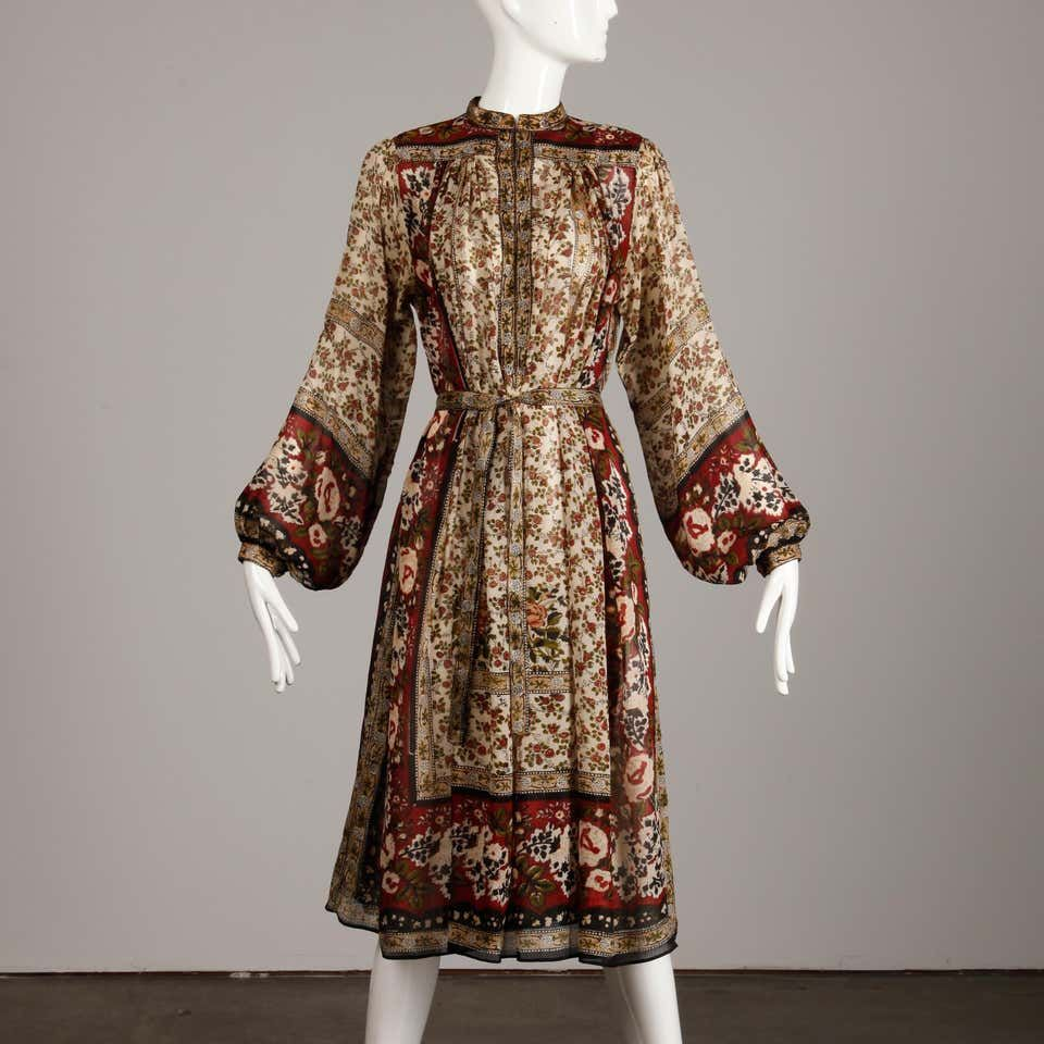Ritu Kumar For Judith Ann 1970s Vintage 100 Silk Indian Hand Block Print Dress In 2020 Dresses Silk Dress Print Dress