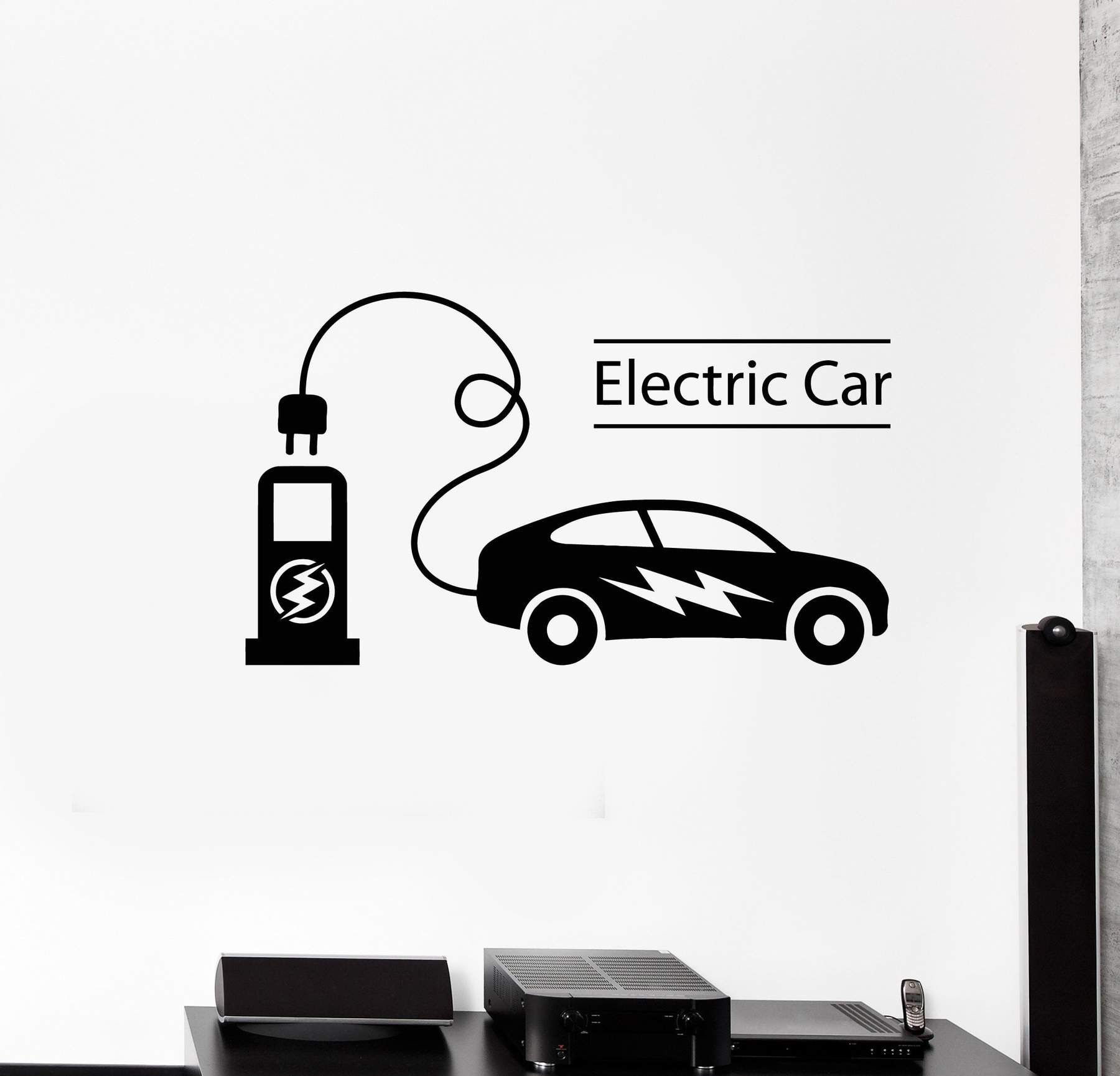 Vinyl Wall Decal Electric Car Electrical Charging Station Vehicle Stickers Mural Ig5368 Electric Car Vinyl Wall Decals Electricity [ 1730 x 1800 Pixel ]