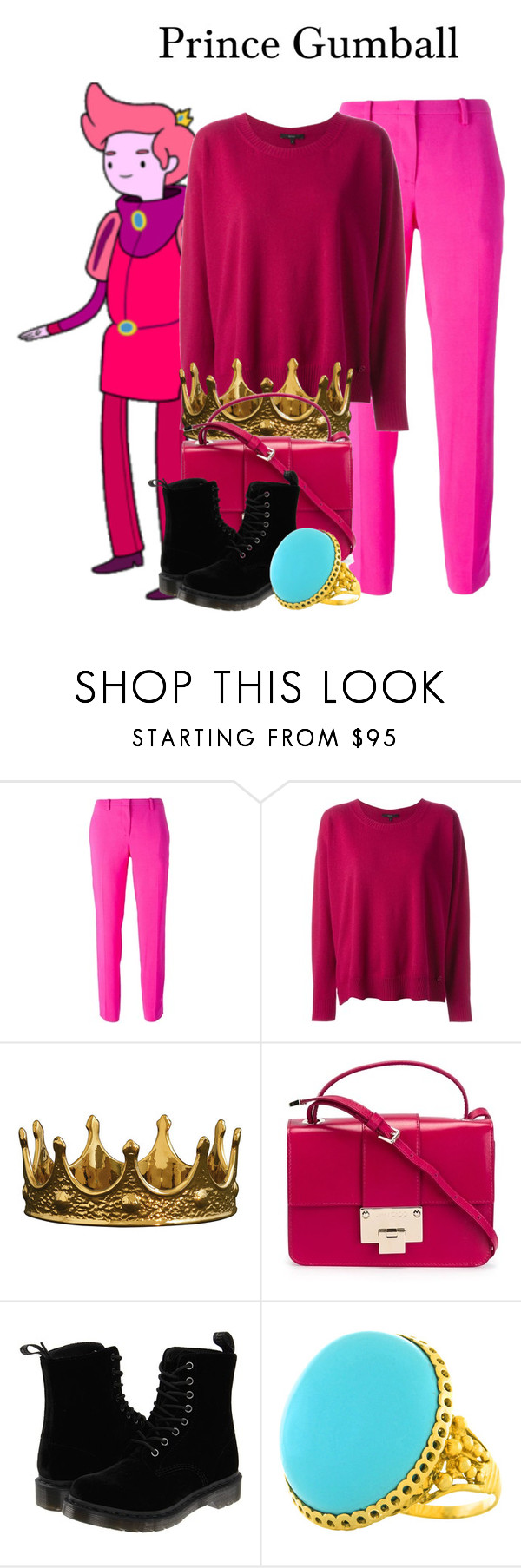 """PrinceGumball/AdventureTime/1-6-16"" by megan-vanwinkle ❤ liked on Polyvore featuring N°21, Gucci, Seletti, Jimmy Choo and Dr. Martens"