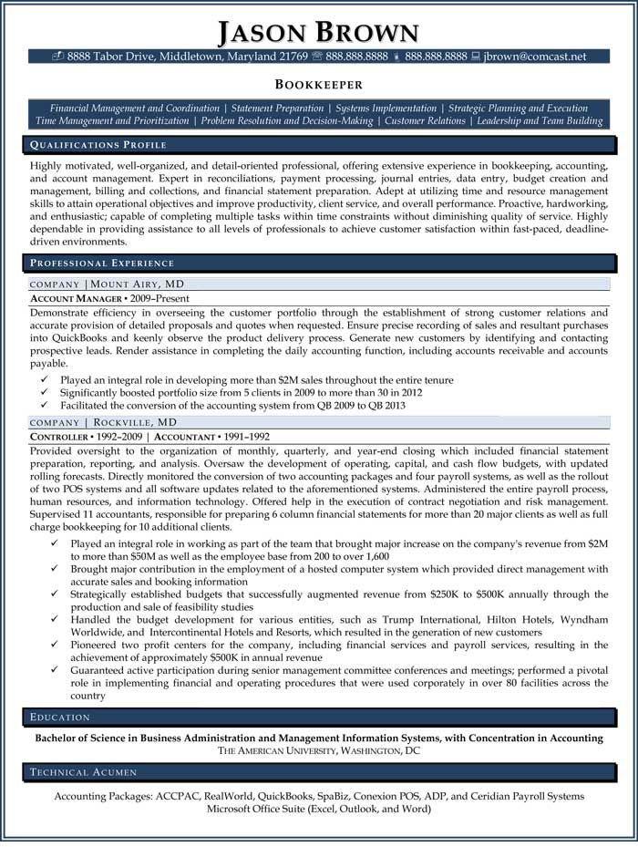 Bookkeeper Resume (Sample) resume examples in 2018 Pinterest