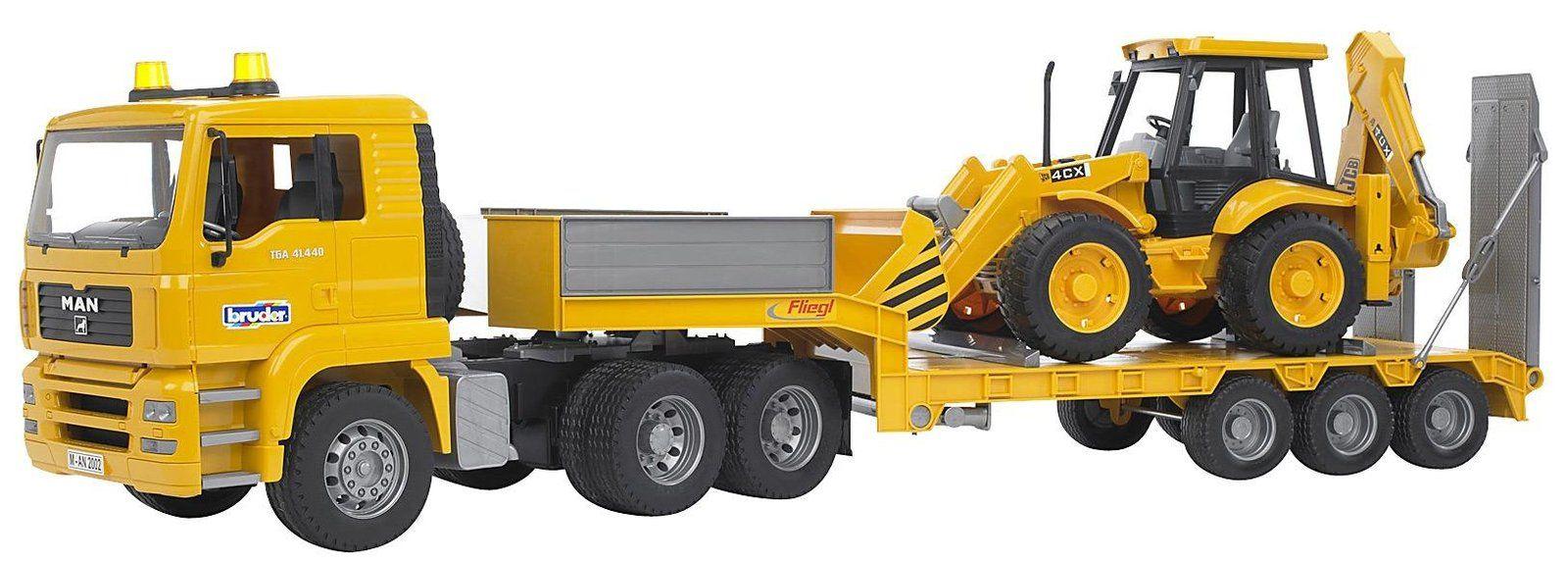 bruder man tga low loader truck with jcb backhoe loader bruder