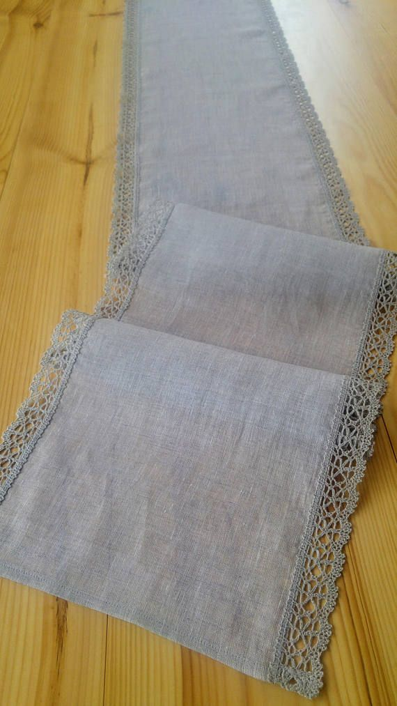 Table runner gray linen gray lace 100% natural different