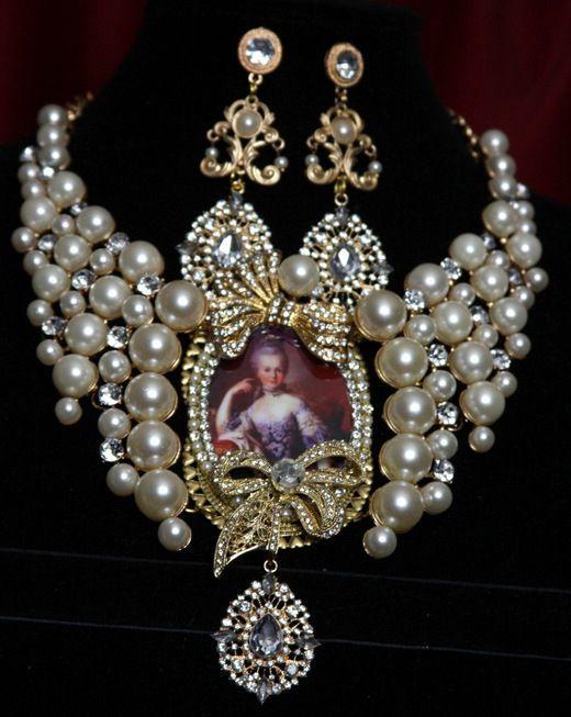 Marie Antoinette Massive Bow Crystal Pearl Necklace Set #zibellini