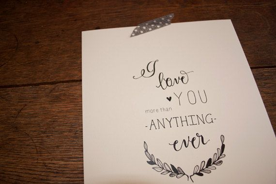Original I Love You Illustration Print. $19.00, via Etsy.