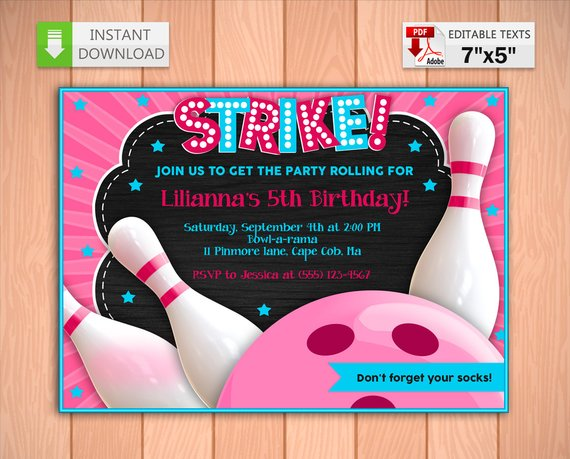 Printable Invitation Bowling Party Pink In Pdf With Editable Etsy In 2021 Bowling Party Invitations Bowling Party Printable Invitations