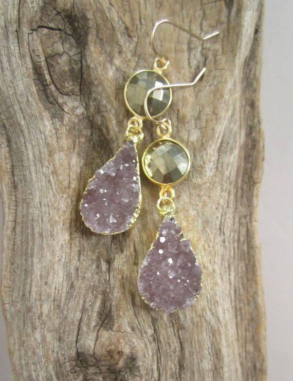 Druzy Earrings Drusy Quartz 18K Gold Vermeil by julianneblumlo