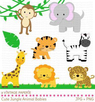 Safari Or Jungle Animals Clip Art Clipart Tiger Giraffe Lion Monkey Elephant Baby Zoo Animals Zoo Animal Baby Shower Baby Jungle Animals