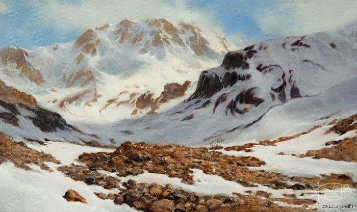 Dmitriew George - 'View of the Ulu Tau Mountain' oil, 30x50cm