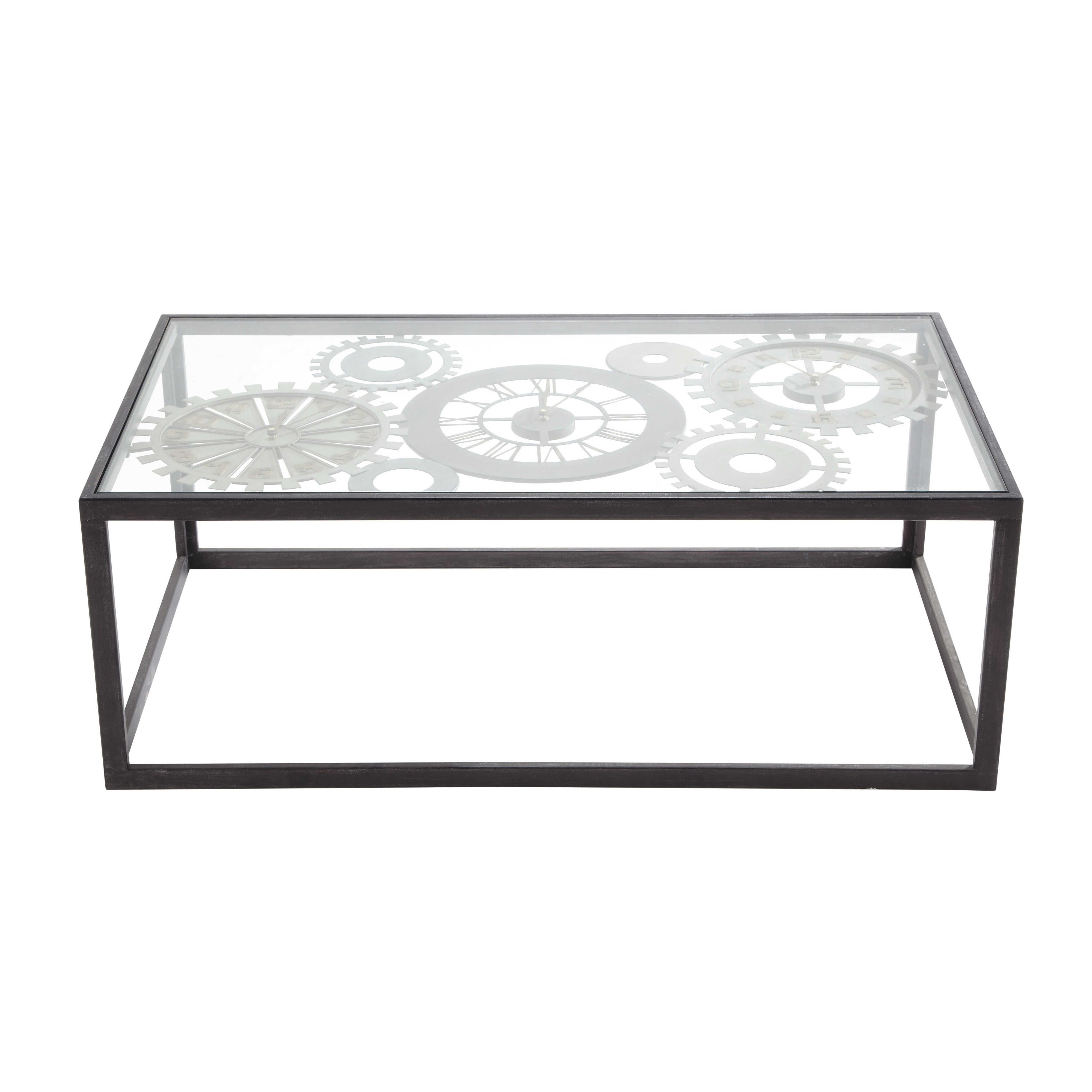 Metal And Tempered Glass Coffee Table With 3 Clocks W 110cm Maisons Du Monde Table Basse Industrielle Table Basse Table Basse Verre