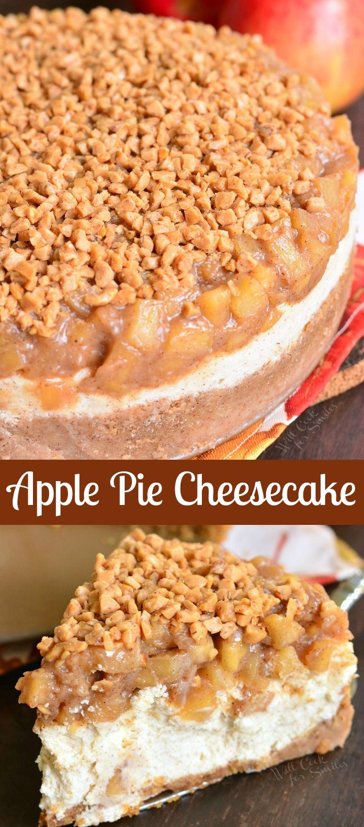 Apple Pie Cheesecake. Beautiful marriage between apple pie and cheesecake in one amazing dessert. Silky, creamy cheesecake is flavored with cinnamon and topped with homemade apple pie filling and some toffee crunch pieces. #dessert #cheesecake #fallcake #falldessert #holidaydessert #applepie #apple #cheesecakes