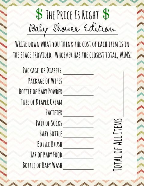 Price Is Right Baby Shower Game   Free Printable