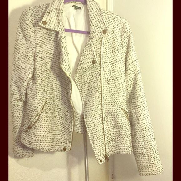 The Letter Moto tweed jacket White and black tweed jacket by the Letter. Moto style, with asymmetrical zipper and gold tone hardwear. It is a bit sparkly, but great jacket to wear casual or dressed up. The Letter Jackets & Coats
