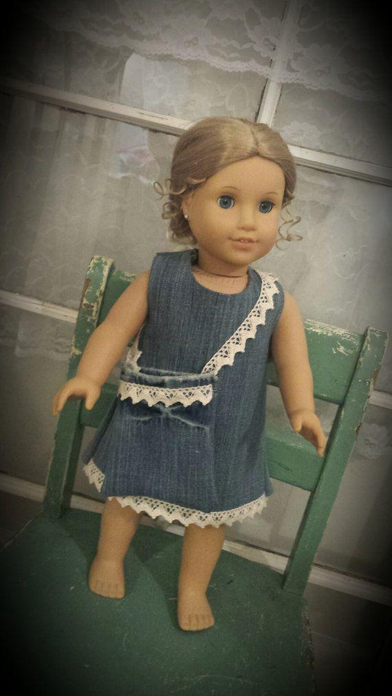 18' doll denim dress and matching purse. by Thelilpinkdress