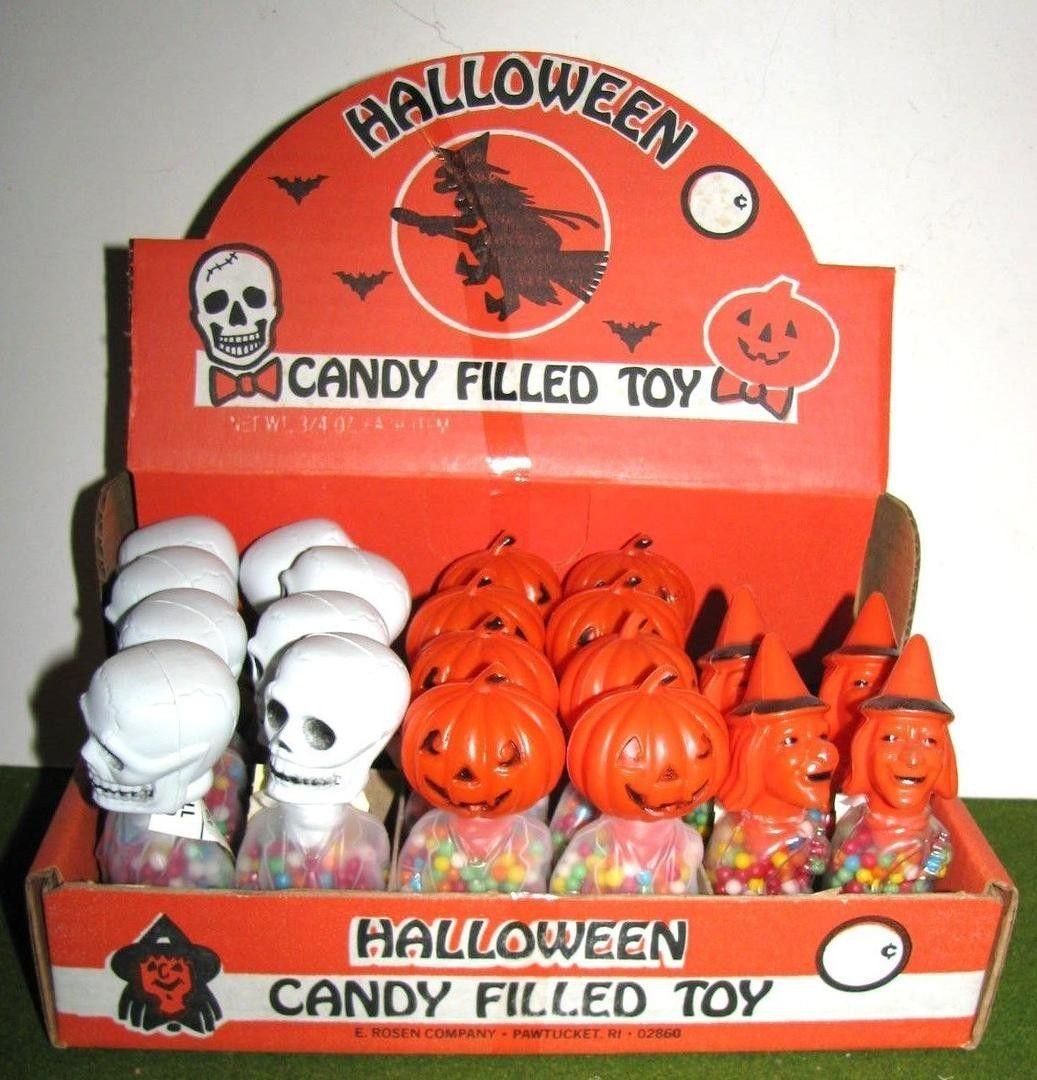 E. ROSEN Halloween plastic SKULL WITCH PUMPKIN CANDY