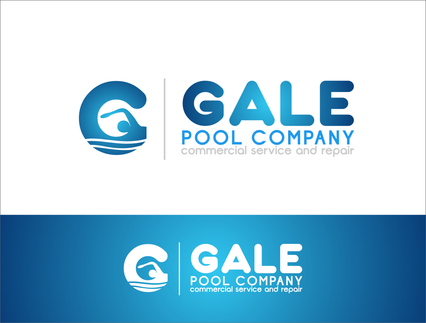 I like the swimmer logo g but not the circular gradient for Pool design logo