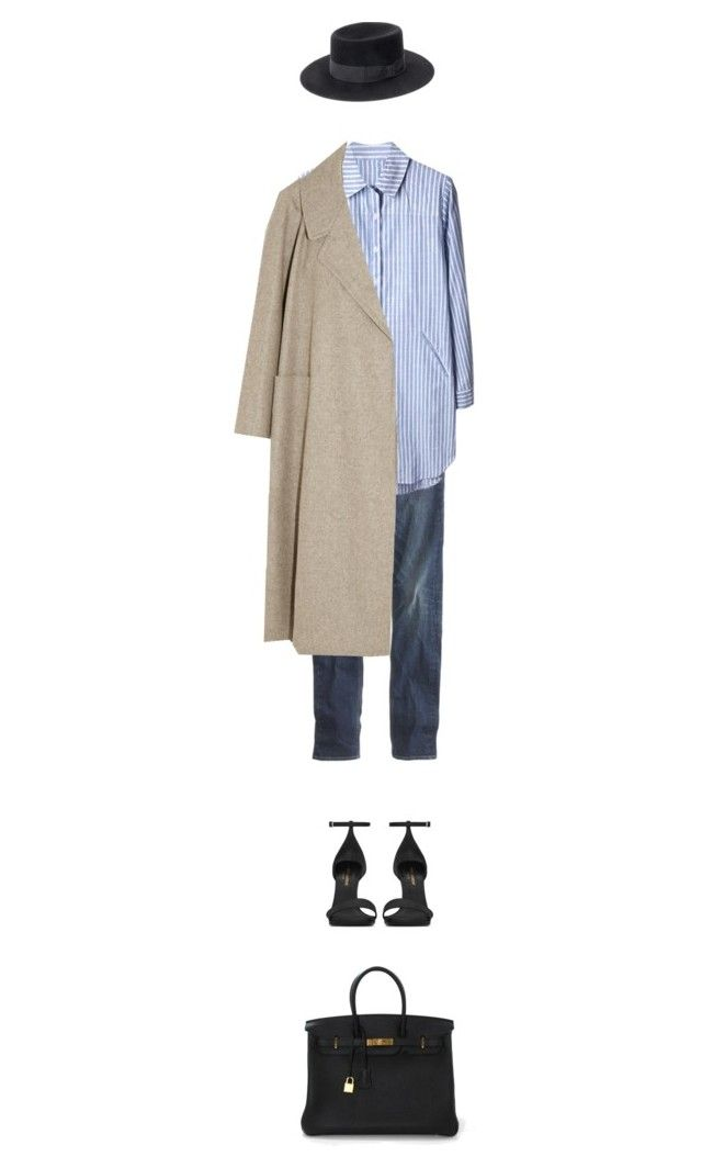 """dress, jeans & favorite coat & hat."" by sharplilteeth ❤ liked on Polyvore featuring J.Crew, Lemaire, Yves Saint Laurent and Hermès"