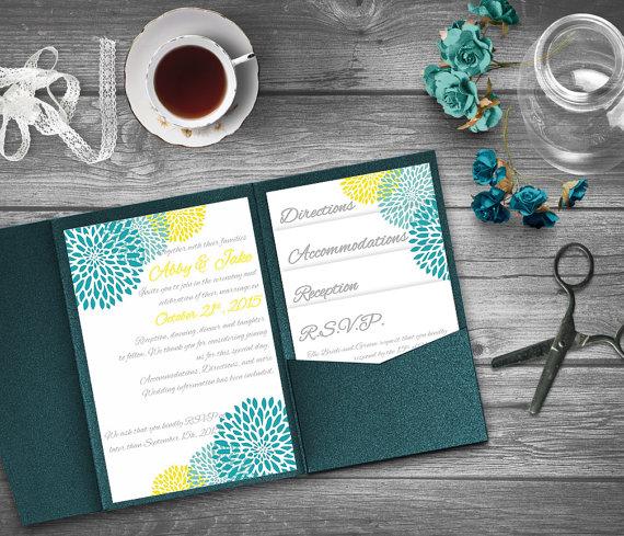 Turquoise And Yellow Wedding Invitation Template Invitation Suite - Wedding invitation templates: pocket wedding invitation template