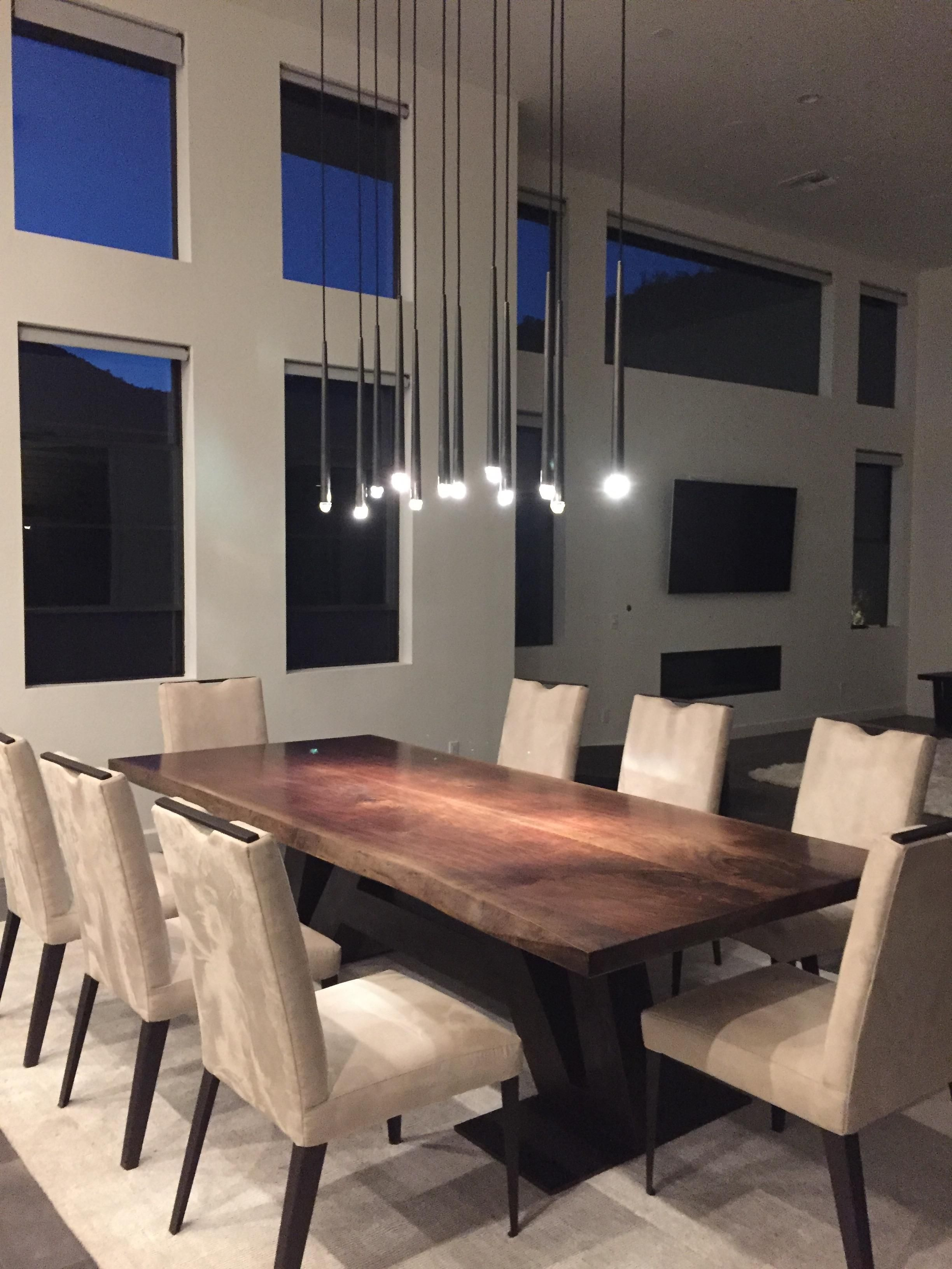 Book Match Live Edge Walnut Slab Dining Table With Metal Patina