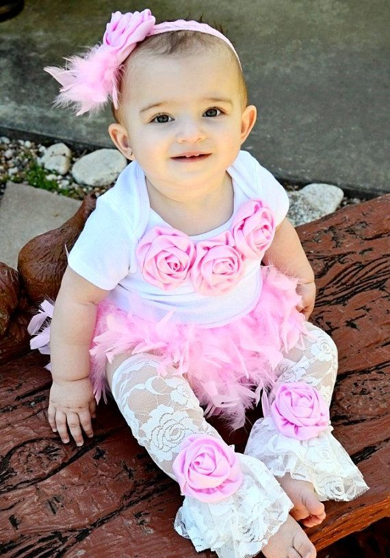 3c07f81a6cee Pink Cake Smash 1st Birthday Girl Couture Outfit Full Feather Bloomer