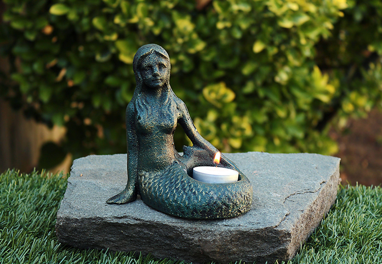 Cast Iron Mermaid-Mermaid Candle Holder-Mystical Mermaid Statue-Cast ...