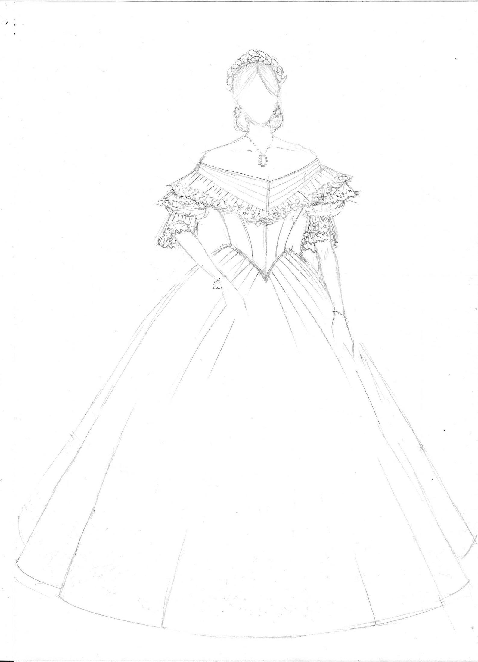 Victorian Prom Dress Victorian Ball Gown Mauve Taffeta White Lace And Green Ribbons With Bertha Model Cinzia 1860 Dress Design Drawing Fashion Drawing Dresses Dress Design Sketches [ 2197 x 1588 Pixel ]