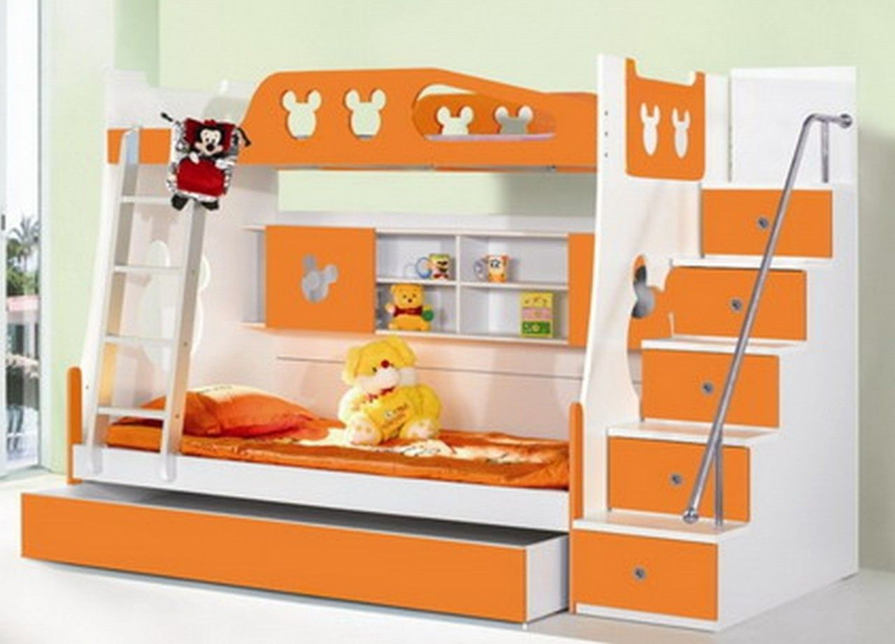 4 bunk beds with stairs - Fantastic Orange Beds For Children For Amazing Kids Bedroom Orange And White Wooden Bunk Bed With Ladder And Stairs Complete With Wall Shelves Interior