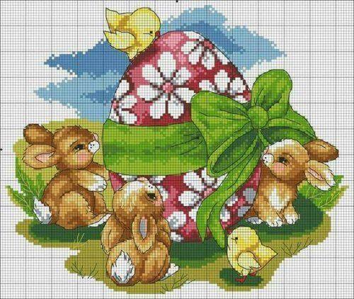 Handmade Cross Stitch Pâques carte