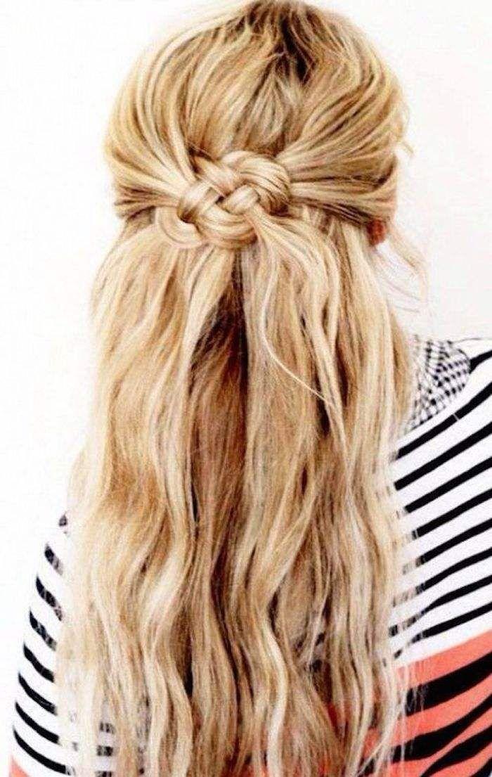 Half Up Half Down Wedding Hairstyles Modwedding Hair Styles Long Hair Styles Hair Knot Tutorial
