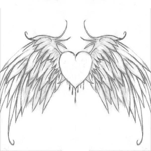 Heart With Wings Coloring Pages Picture 6 Heart With Wings Coloring Pages To Print Image Heart Drawing Cool Heart Drawings Wings Art