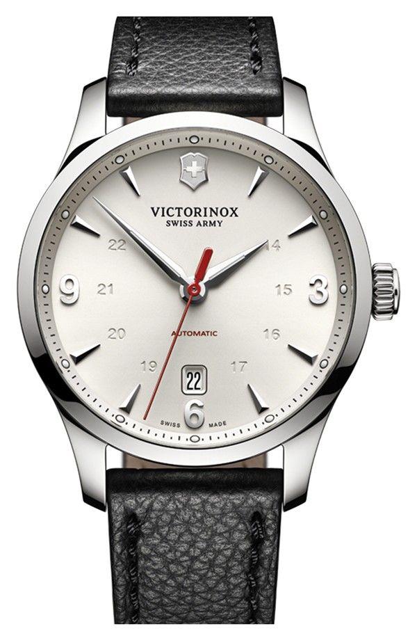 fcc6cd5c1 Victorinox Swiss Army® 'Alliance' Round Leather Strap Watch, 40mm |  Nordstrom