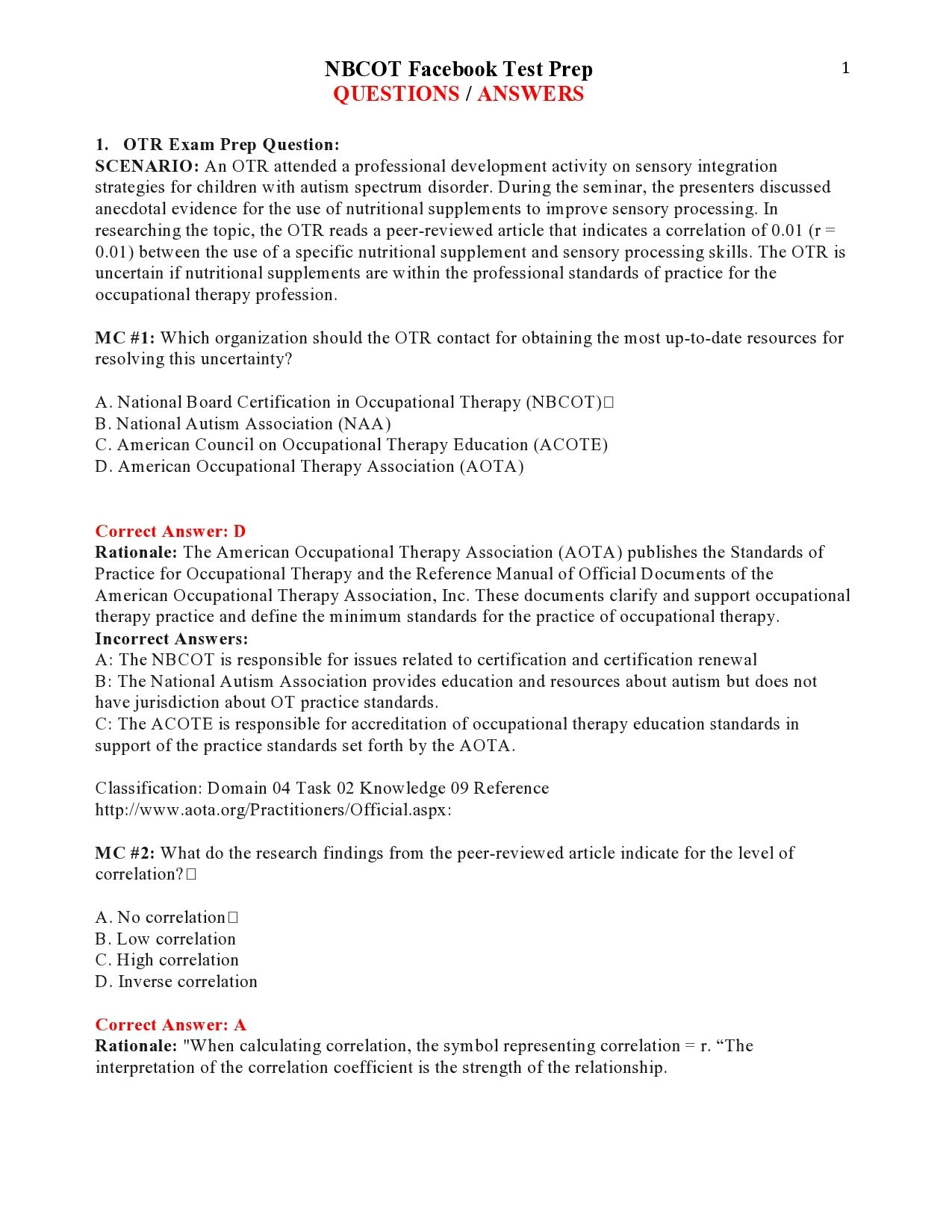 Nbcot Facebook Test Prep Questions Answers Page 1 Nbcot