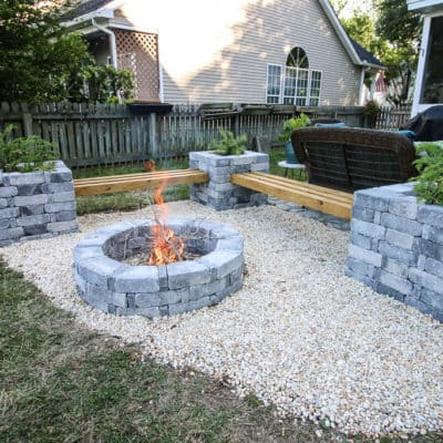 Photo of Our Hardscape Benches + Fire Pit with The Home Depot