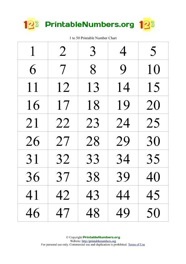 Printable Numbers Chart 1-50 | montessori, school ...