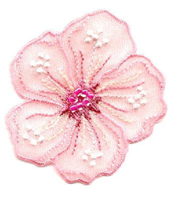 FLOWER - PINK W/FUCHSIA CENTERED BEADS IRON ON APPLIQUE PATCH - PRETTY