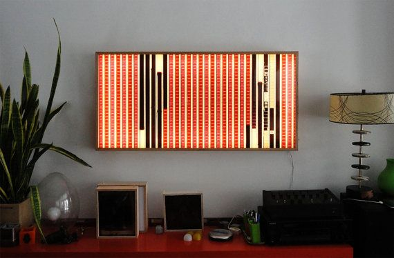Led Wall Art lofty lightbox 22 - vintage 35mm film collage on acrylic - wall