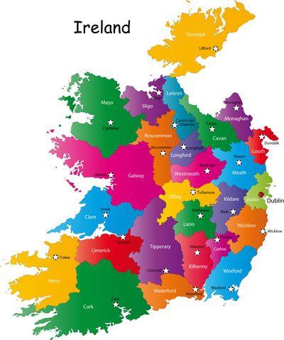 Ireland Counties And Capital Cities Map Ireland Emerald Isle