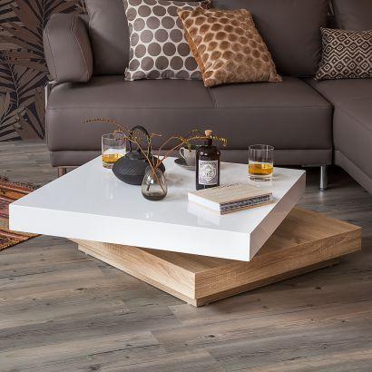 Couchtisch Emblaze - Hochglanz Weiß Eiche Sonoma Dekor Wohnung