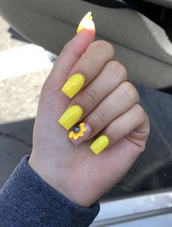 76 Best Gorgeous Inspirational Summer Yellow Acrylic Nails Design 2019 Page 17 Of 76 Diaror Diary Yellow Nails Design Sunflower Nails Yellow Nails