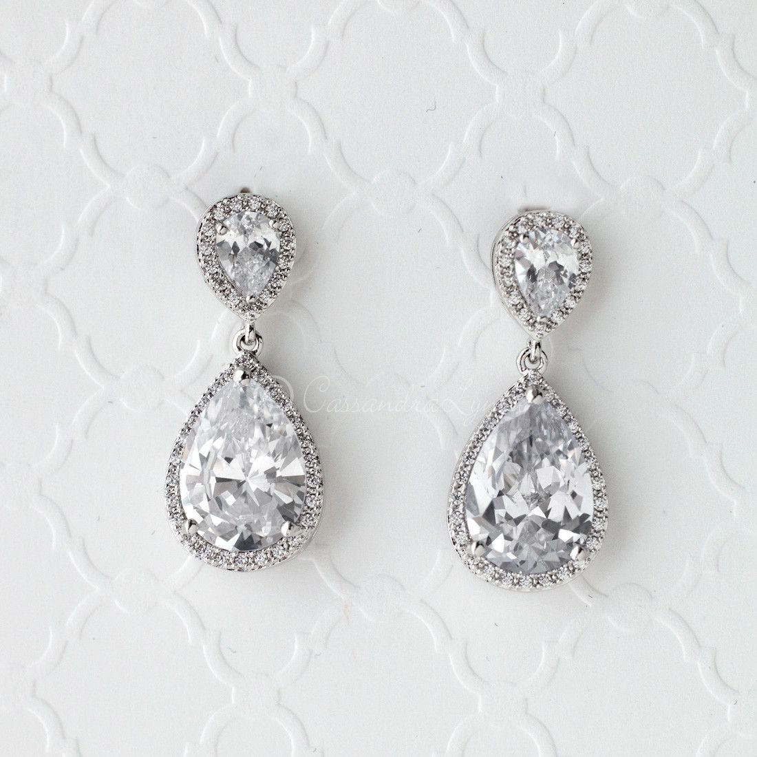 earrings for the drop bride pear drops cz pin and jewel