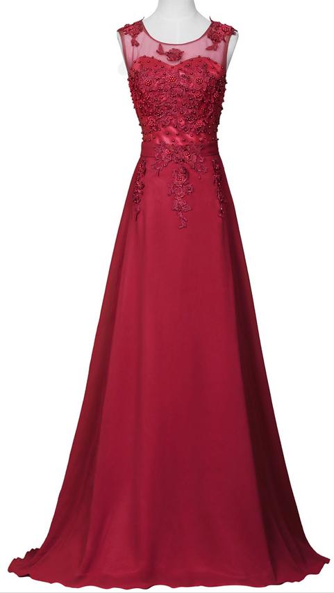 c275d142a71 Charming Burgundy A Line Evening Dresses Lace Applique
