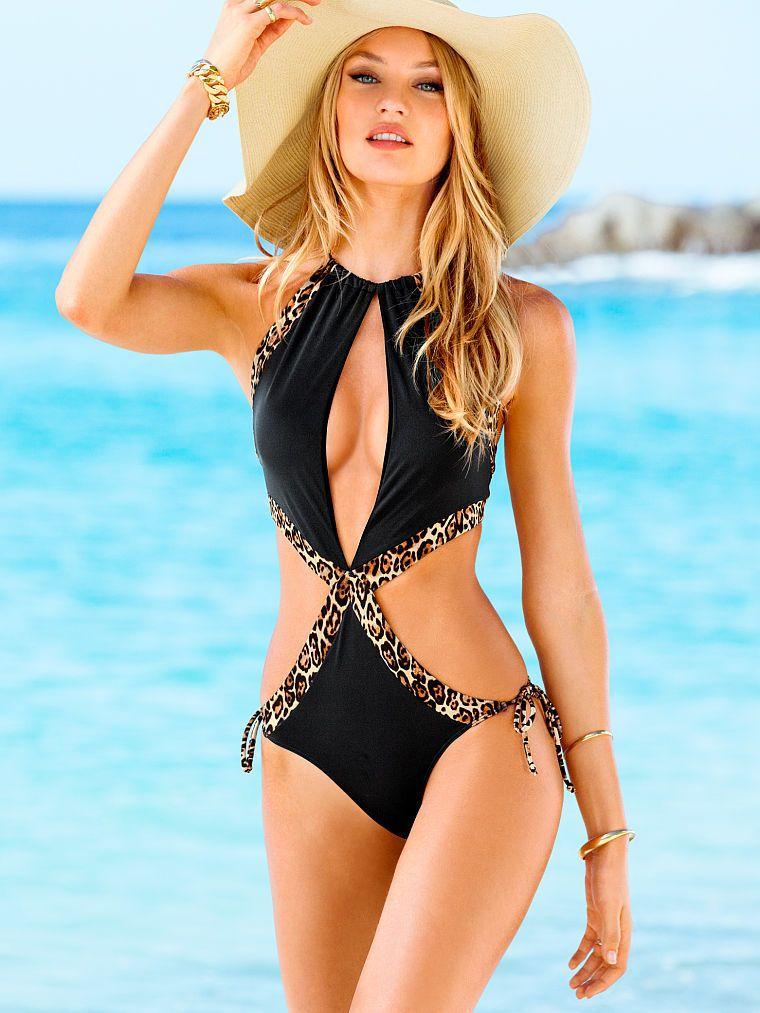 Bikini swimsuit black leopard