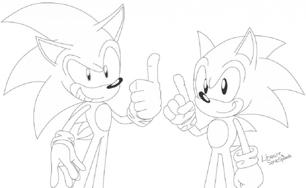 Classic Sonic Coloring Pages Easy Cartoon Drawings Cartoon