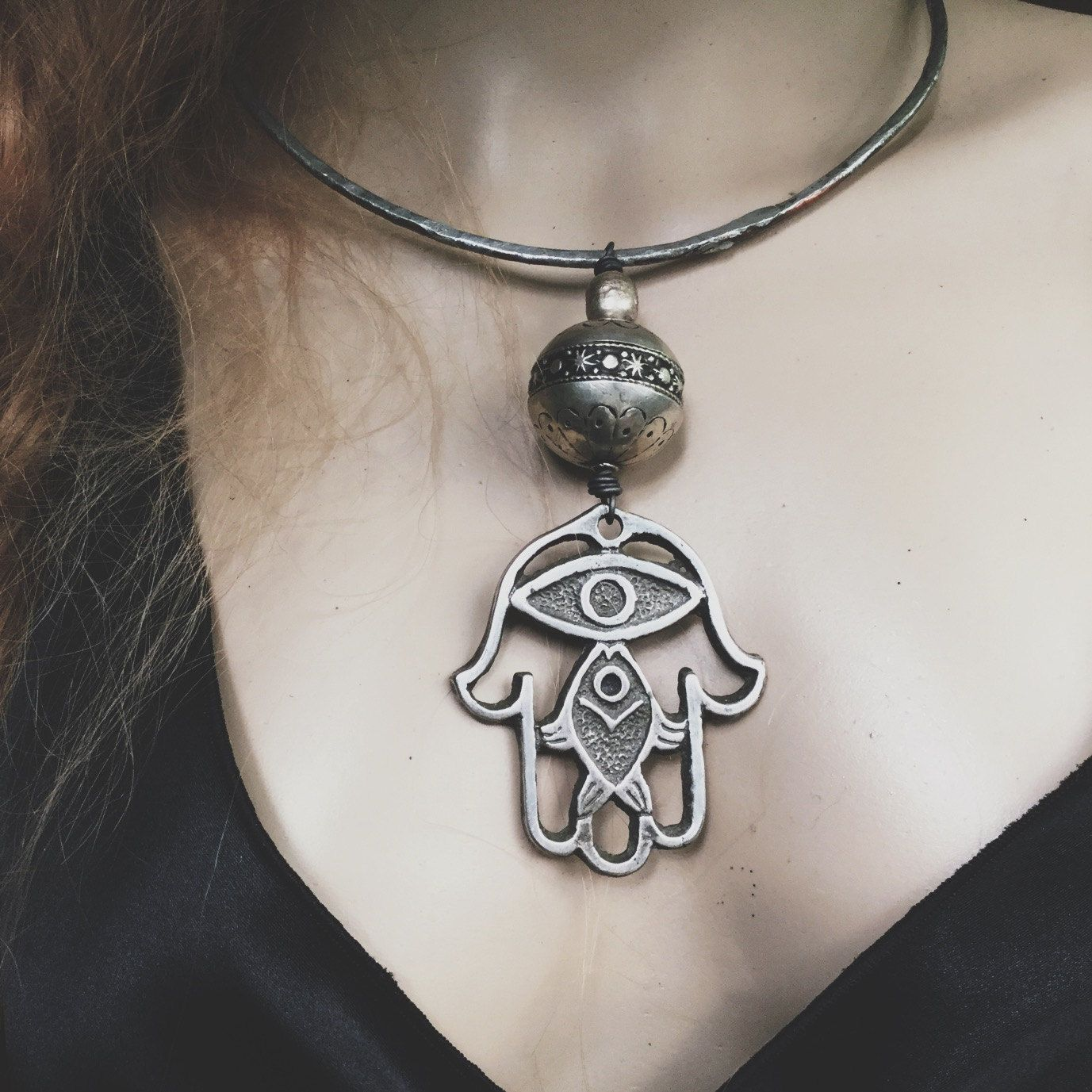 Boho hamsa necklace choker large hamsa choker necklace rustic boho hamsa necklace choker large hamsa choker necklace rustic necklace silver necklace silver choker amulet necklace mozeypictures Image collections