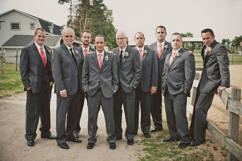 Groomsmen in Dark Gray Suits with Coral Ties | Grooms Attire ...