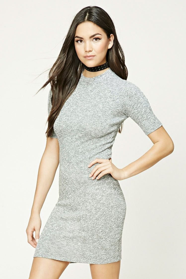 This bodycon dress is crafted from marled stretchknit and features