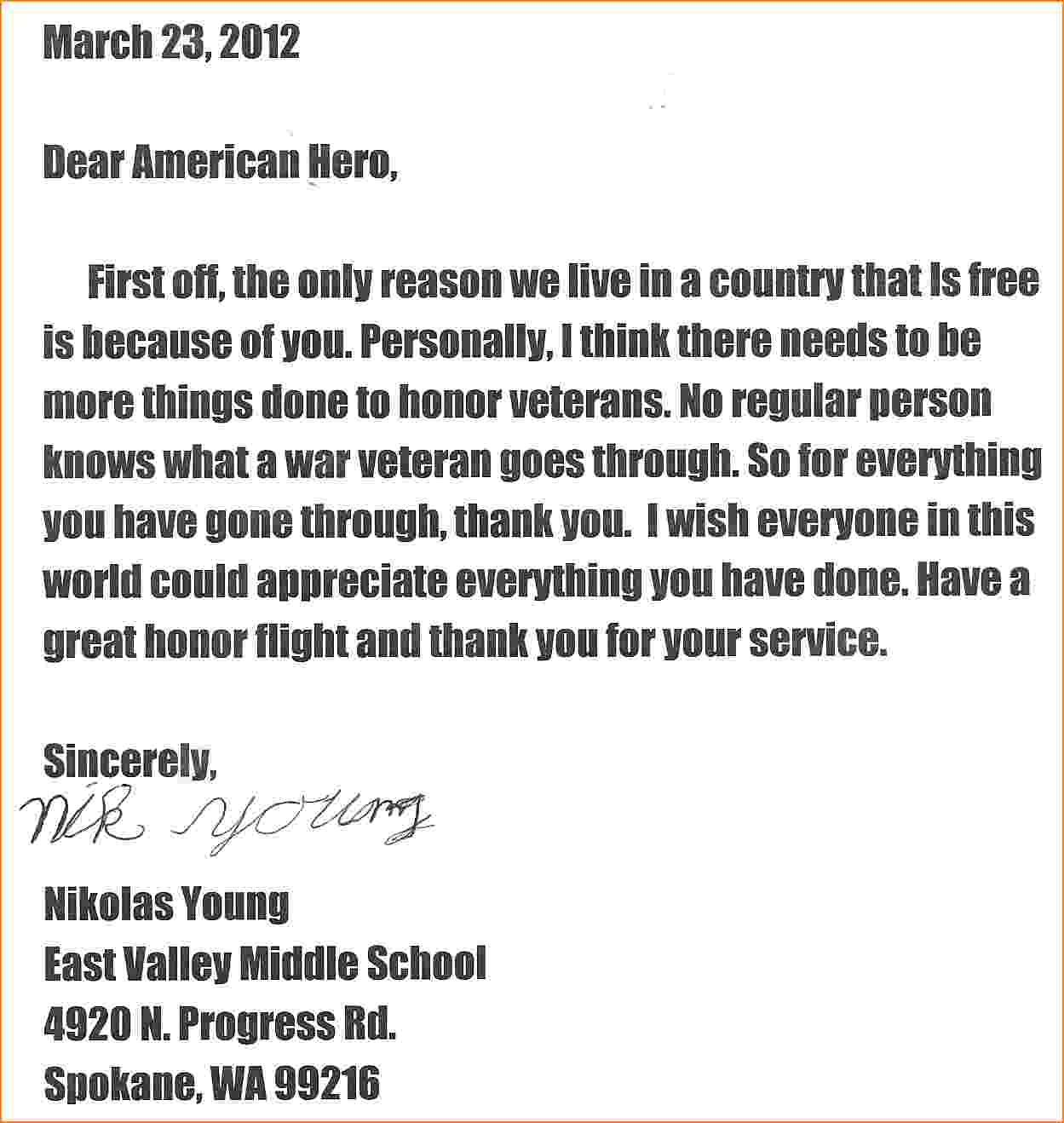 Honor Flight Letter Examples