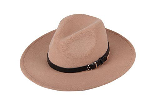 28f244892f6 Dantiya Women  s Wide Brim Wool Fedora Panama Hat with Belt Camel ...